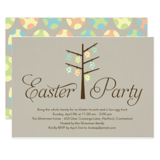 Easter dinner invitations announcements zazzle easter tree easter party invitation stopboris Image collections
