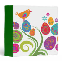 Easter tree with colored eggs and flowers binder