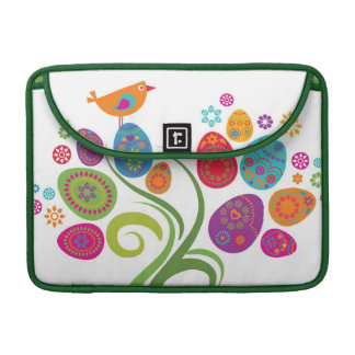 Easter tree with colored eggs and flowers sleeve for MacBooks