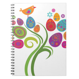 Easter tree with colored eggs and flowers spiral notebook