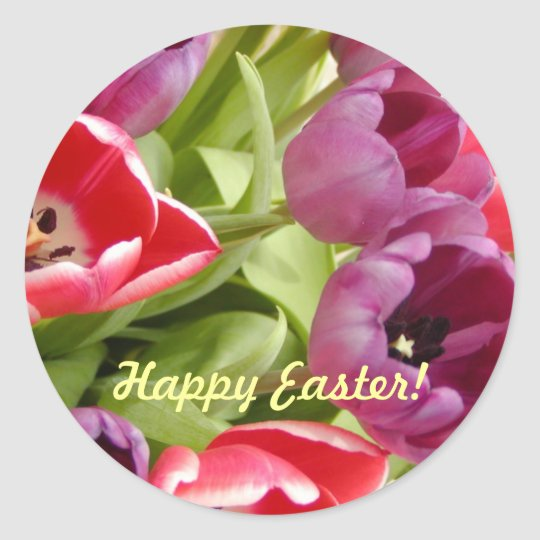 Easter Tulips Customizable Classic Round Sticker
