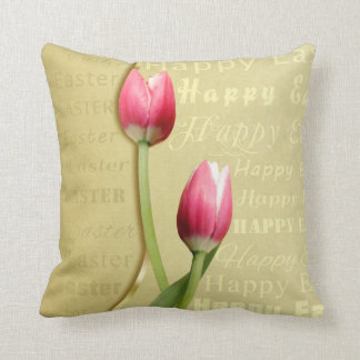 Easter Tulips Gold Typography - Pillow