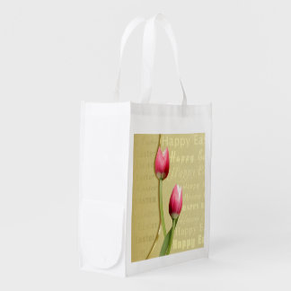 Easter Tulips Gold Typography - Reusable Bag