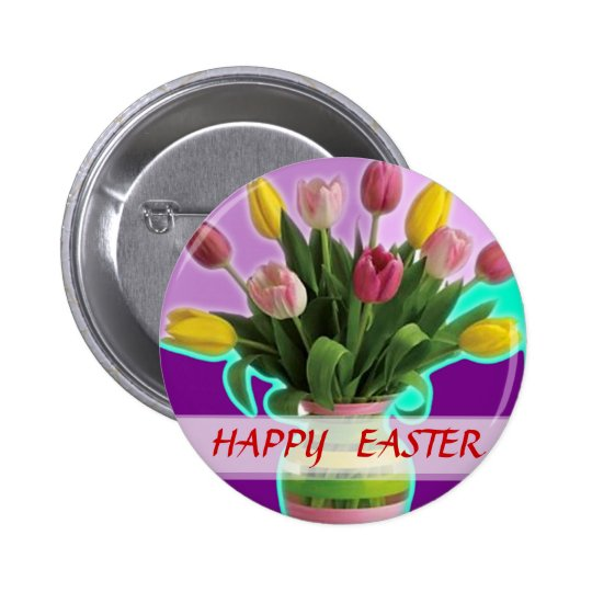 Easter Tulips - Happy Easter Button