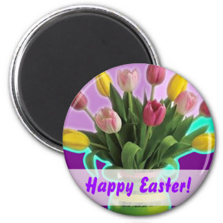 Easter Tulips - Happy Easter Magnet