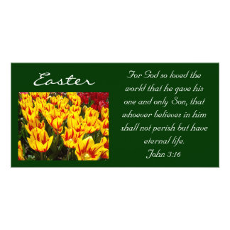 Easter Tulips Photocards Bible Scripture John 3:16 Card
