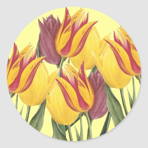 Easter Tulips Round Sticker