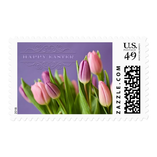 """Easter - """"Tulips"""" with """"Happy Easter"""" Word Art Postage"""