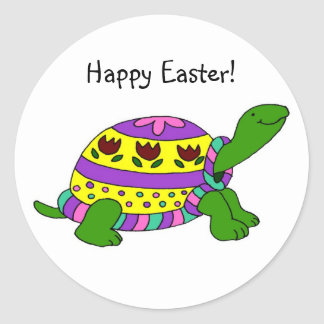 Easter turtle classic round sticker