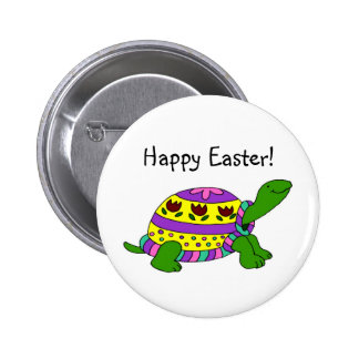Easter turtle pinback button