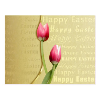 Easter Typography with Tulips - Postcard