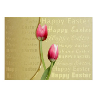 Easter Typography with Tulips - Poster