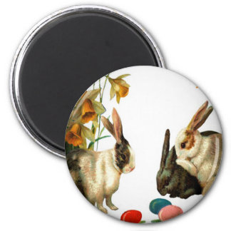 Easter Vintage Bunnies and Colored Egg Magnet