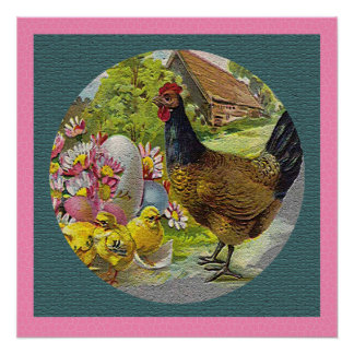 Easter Vintage Hen and Chicks Textured Poster