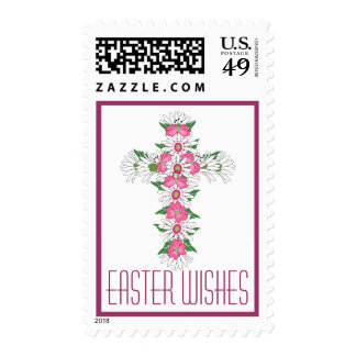 Easter Wishes Floral Cross Postage