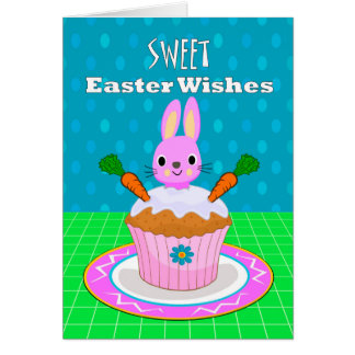 Easter Wishes for Granddaughter, Carrot Cupcake Card