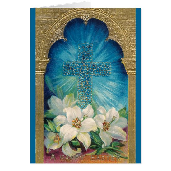 Easter With Cross and Lilies Card