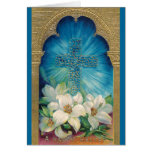 Easter With Cross and Lilies Greeting Card