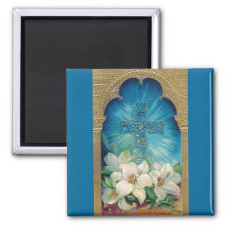 Easter With Cross and Lilies Fridge Magnet