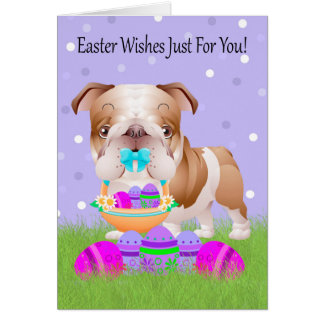 Easter With Little Bulldog With Easter Basket Card