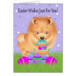 Easter With Little Pomeranian With Easter Basket Greeting Card