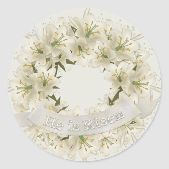 Easter Wreath Classic Round Sticker