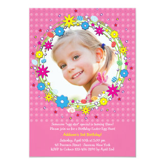 "Easter Wreath Photo Birthday Party Invitation 5"" X 7"" Invitation Card"