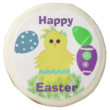 Easter Yellow Blue Chick Decorated Eggs Desserts Sugar Cookie