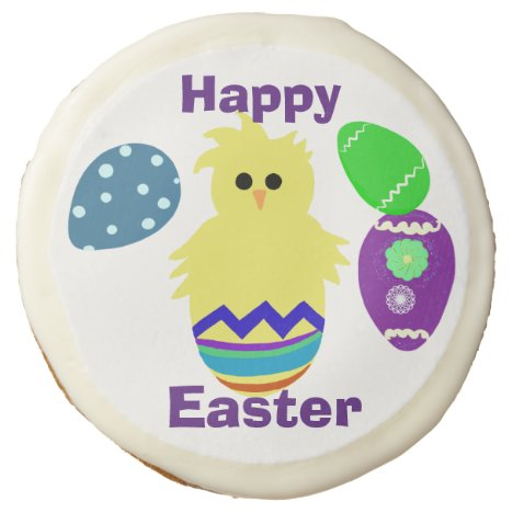 Easter Yellow Chick Decorated Eggs Desserts Sugar Cookie