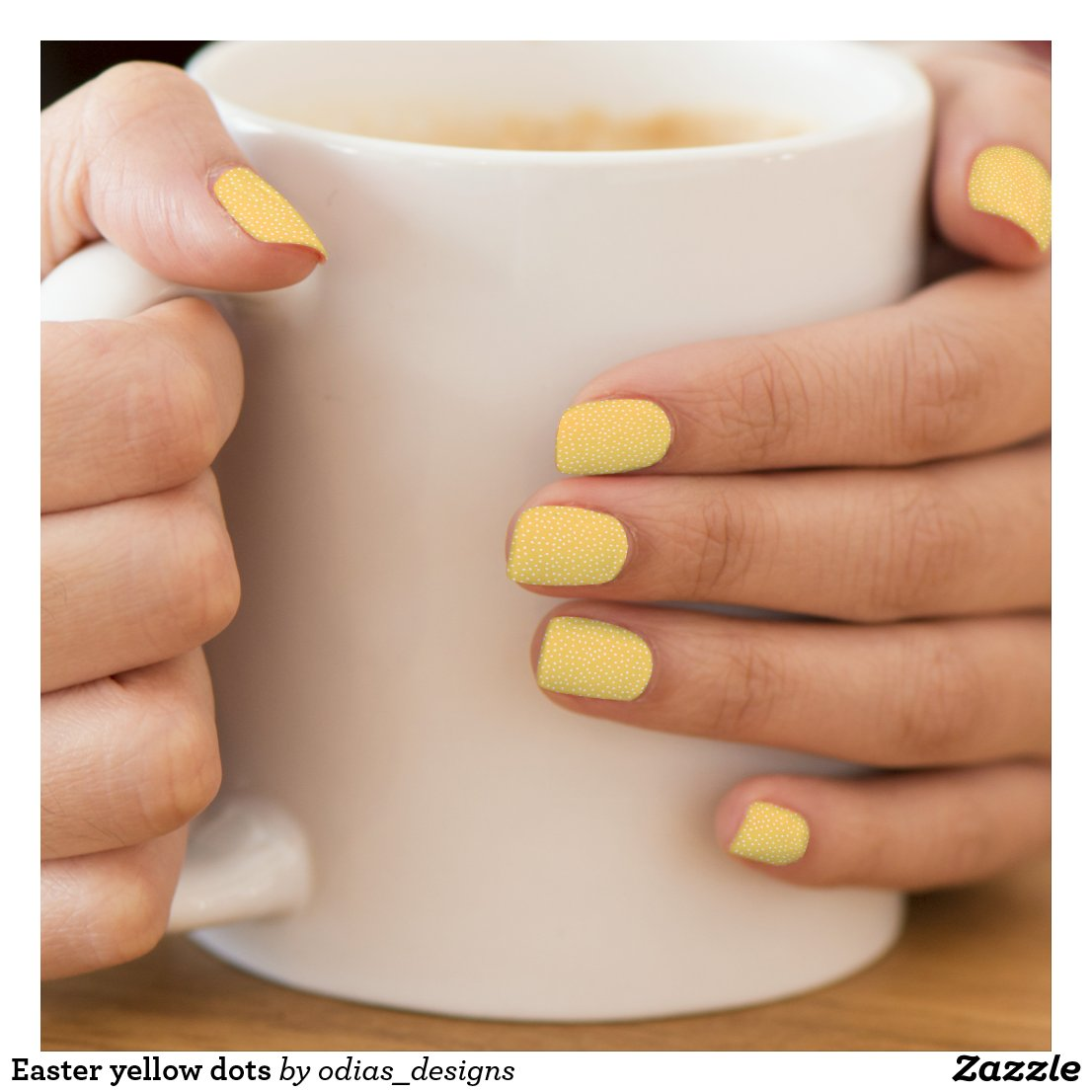 Easter yellow dots minx nail art