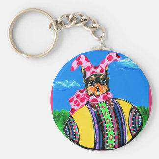 Easter Yorkie Poo Basic Round Button Keychain