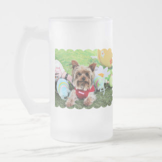 Easter - Yorkshire Terrier - Sassy 16 Oz Frosted Glass Beer Mug
