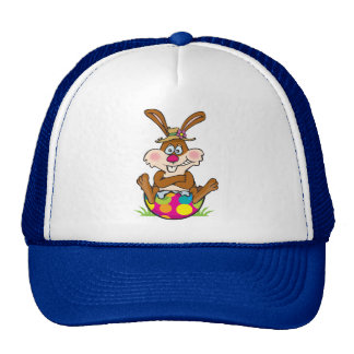 EasterB13 Bunny on egg Trucker Hat