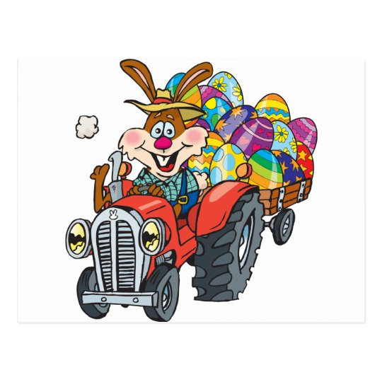 EasterB18 tractor bunny Postcard