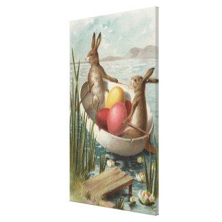 EasterBunnies en un barco con los huevos coloreado Lienzo Envuelto Para Galerías