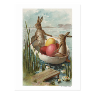 EasterBunnies in a Boat with Colored Eggs Postcard