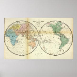 Eastern and Western Hemispheres Poster