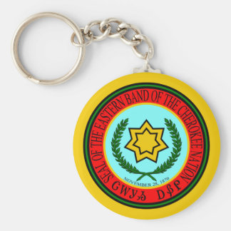 Eastern Band Of The Cherokee Seal Basic Round Button Keychain