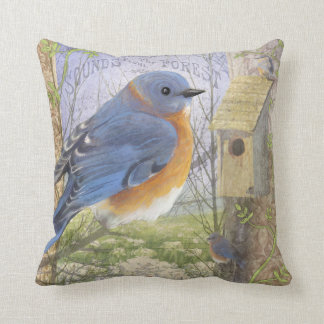 Eastern Blue Bird throw pillow