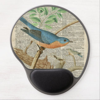 Eastern Blue Birds on Branch Vintage Collage Gel Mouse Pad