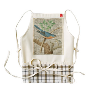 Eastern Blue Birds on Branch Vintage Collage Zazzle HEART Apron