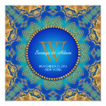 Eastern Blue Gold Satin Lace Monogram Invitation