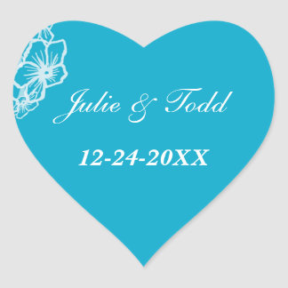 Eastern Blue Modern Floral Wedding Save The Date Heart Sticker