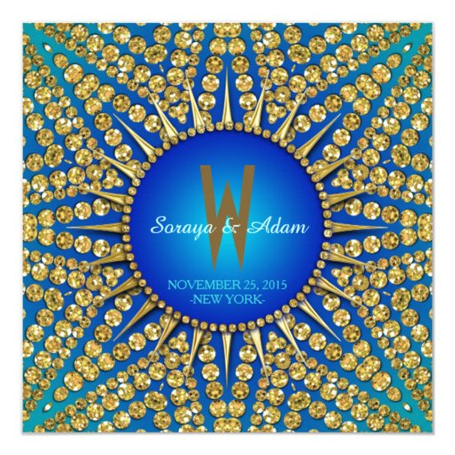 Eastern Blue Sun Sparkle  Monogram Invitation