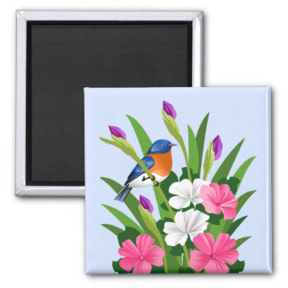 Eastern Bluebird 2 Inch Square Magnet