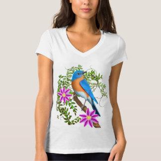 Eastern Bluebird in Floral Vines V-neck T-Shirt