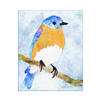 Eastern Bluebird – male -  watercolor style canvas