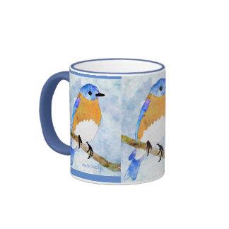 Eastern Bluebird – male -  watercolor style mug