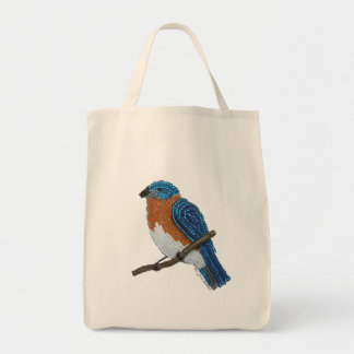 Eastern Bluebird Reusable Grocery Tote Bag
