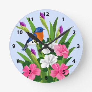 Eastern Bluebird Round Clock